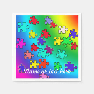 Multicolored puzzles disposable napkin