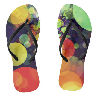 Multicolored Rainbow Circle Lights Pattern Flip Flops