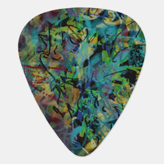 Multicolored Scribbled Abstract Art Guitar Pick