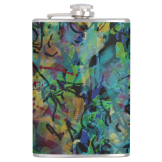Multicolored Scribbled Abstract Art Hip Flask