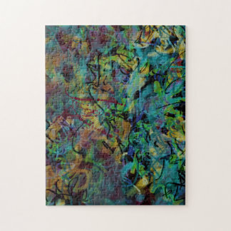 Multicolored Scribbled Abstract Art Jigsaw Puzzle