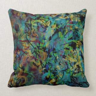 Multicolored Scribbled Abstract Art Throw Pillow