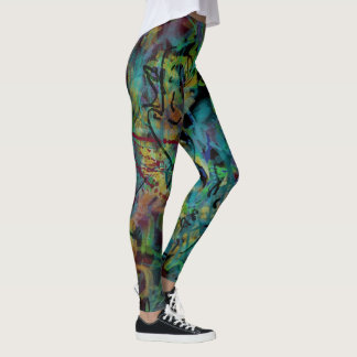 Multicolored Scribbled, Splashed Crazy Art Leggings
