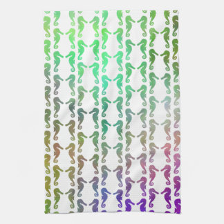 Multicolored Seahorse Pattern Kitchen Towel