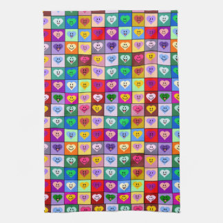 Multicolored smiley hearts kitchen towel