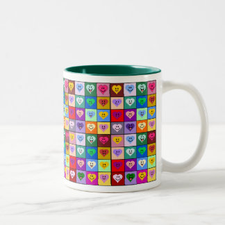 Multicolored Smiley Hearts Two-Tone Coffee Mug