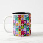 Multicolored Smiley Squares Two-Tone Mug