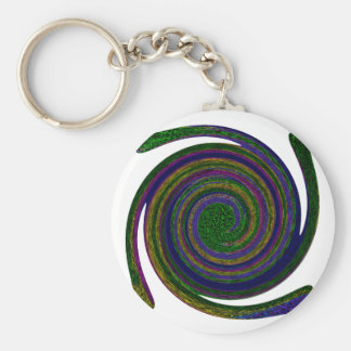 Multicolored spiral abstract art Swirl blue purple Keychains
