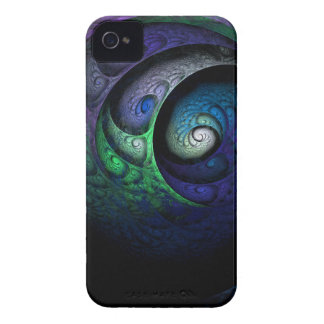 Multicolored spiral fractal picture on the dark iPhone 4 cover