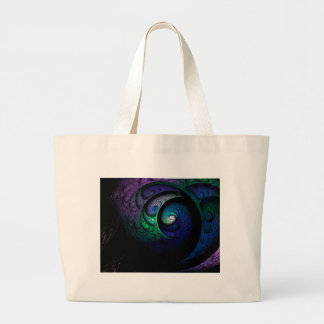 Multicolored spiral fractal picture on the dark large tote bag