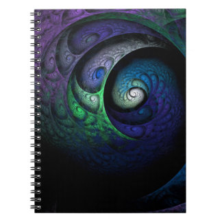Multicolored spiral fractal picture on the dark notebook