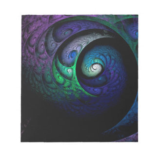 Multicolored spiral fractal picture on the dark notepad