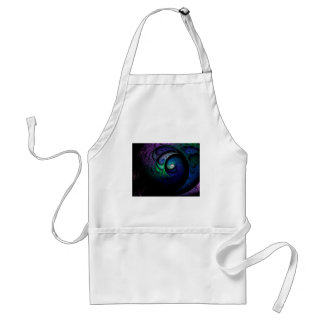 Multicolored spiral fractal picture on the dark standard apron