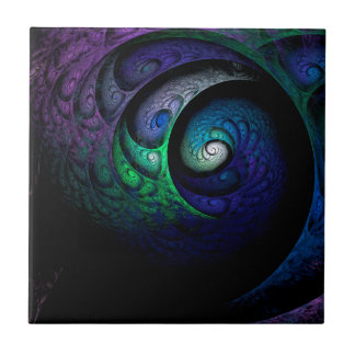 Multicolored spiral fractal picture on the dark tile