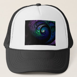 Multicolored spiral fractal picture on the dark trucker hat
