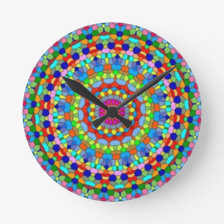 Multicolored Stained Glass Kaleidoscope Clock