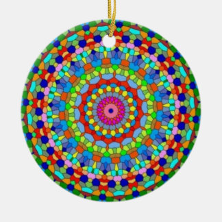 Multicolored Stained Glass Kaleidoscope Ornament