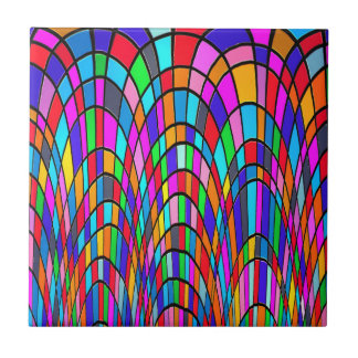 Multicolored Stained Glass Mosaic Abstract Art Tile