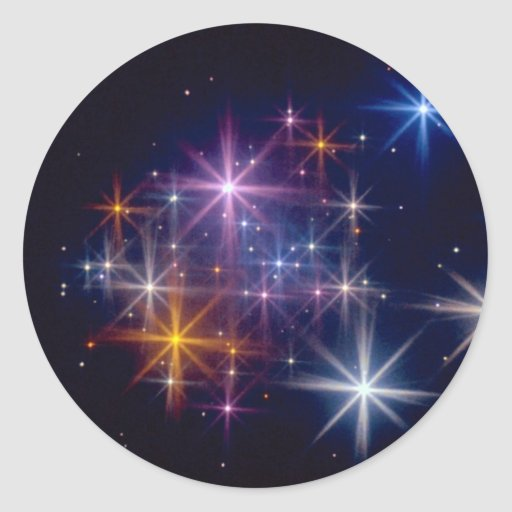 Multicolored star chasers sticker