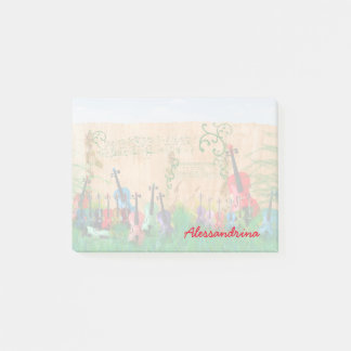 Multicolored Stringed Instruments Custom Name Post-it Notes