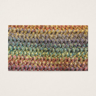 Multicolored striped knitted crochet business card