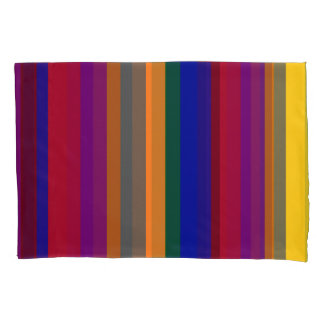 Multicolored Striped Pillowcase