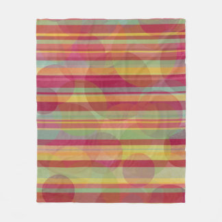 Multicolored stripes and circles fleece blanket