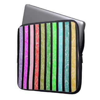 Multicolored strips laptop sleeve