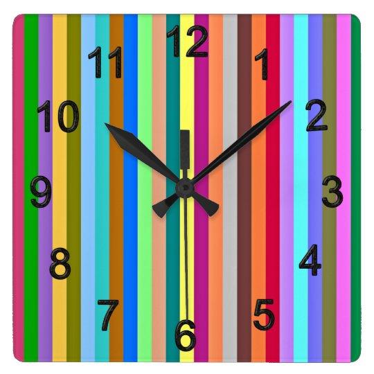 Multicolored strips wallclocks