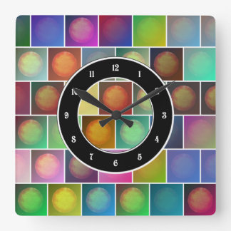 Multicolored suns square wall clock