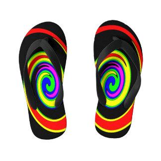 Multicolored swirl kid's flip flops