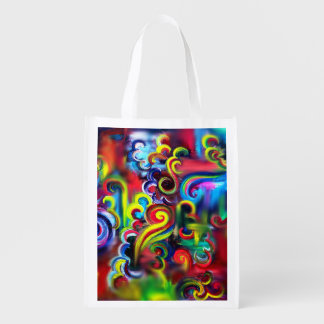 Multicolored Swirls Reusable Grocery Bag