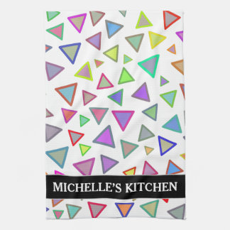 Multicolored Triangles Pattern + Custom Name Kitchen Towel