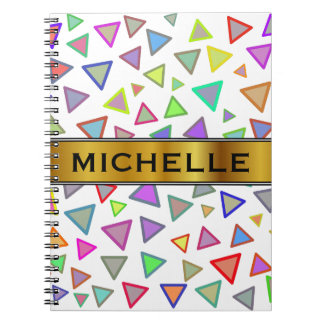 Multicolored Triangles Pattern + Custom Name Notebook