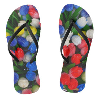 Multicolored tulips flip flops