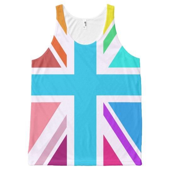Multicolored Union Jack/Flag Design All-Over-Print Tank Top
