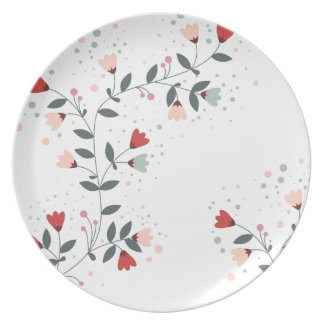 Multicolored Vine Design Melamine Plate