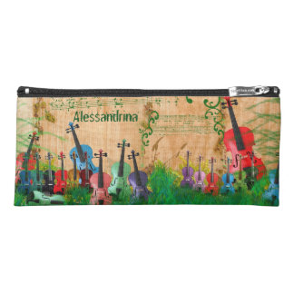 Multicolored Violin Orchard Customizable Name Pencil Case