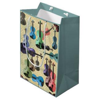 Multicolored Violin Wallpaper Medium Gift Bag