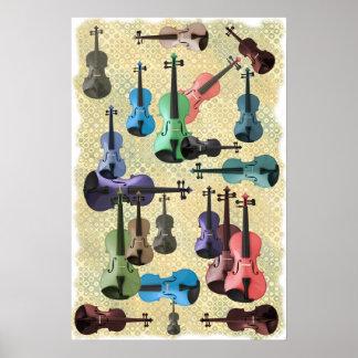 Multicolored Violin Wallpaper Poster