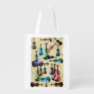 Multicolored Violin Wallpaper Reusable Grocery Bag