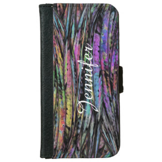 Multicolored, Wispy, Vertical Abstract Art Design iPhone 6 Wallet Case