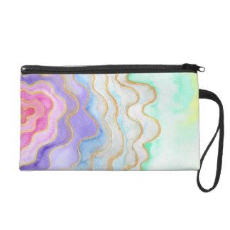Multicolour Watercolour Geode Wristlet