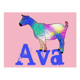 Multicoloured Artsy Goat standing on a Name Postcard