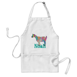 Multicoloured Artsy Goat standing on a Name Standard Apron