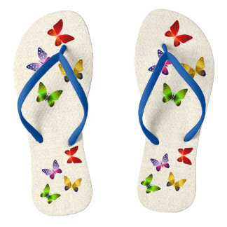 Multicoloured butterflies flip flops