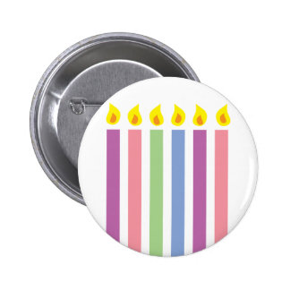 Multicoloured Colorful Birthday Candles Button