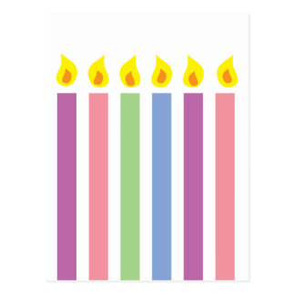 Multicoloured Colorful Birthday Candles Postcard