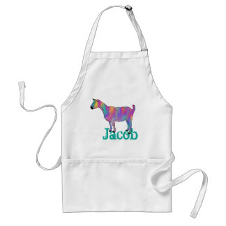 Multicoloured Funny Art Goat Design with Your Name Standard Apron