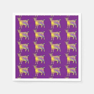 Multicoloured Funny Artsy Goat Animal Art Design Disposable Napkins